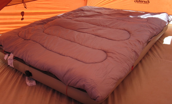 Coleman 2 Person Sleeping Bag in a tent