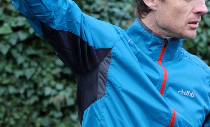 A man wearing a Durable-Water-Repellent jacket