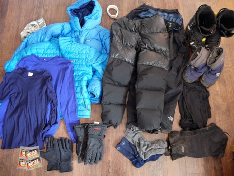 Hiking winter clothes