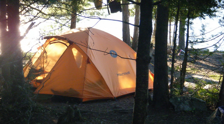 Marmot 4-person tent in a forest