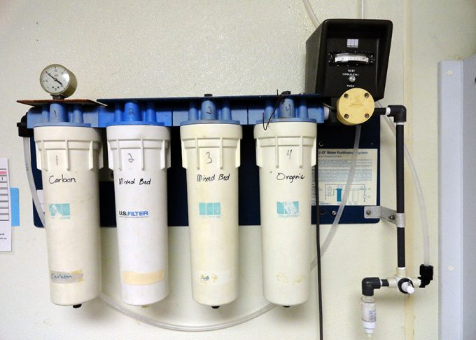 water filtration system on wall