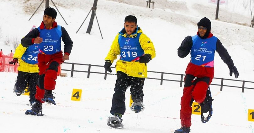 Sports Events for Contestants on Snowshoes