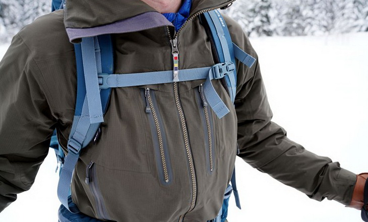 The Sherpa's exterior pockets are usable even with a pack on