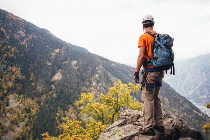 backpacker wearing hiking pants