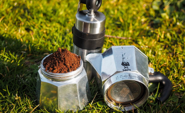 Coffee maker on the grass