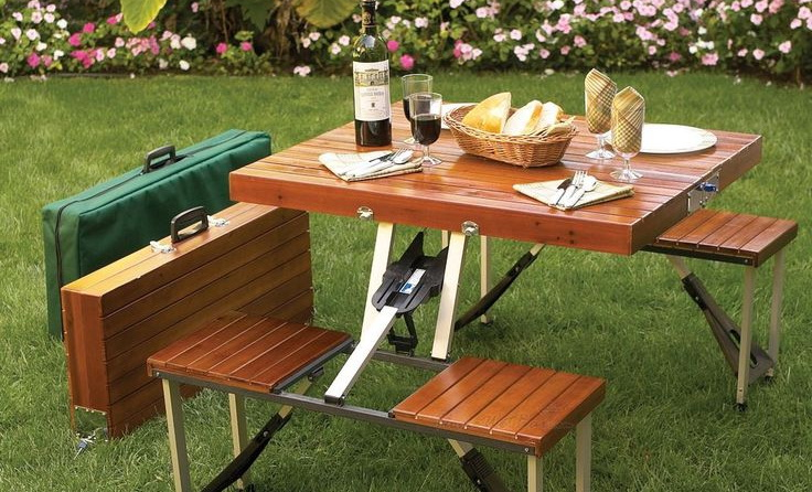 Image of a wooden folding table