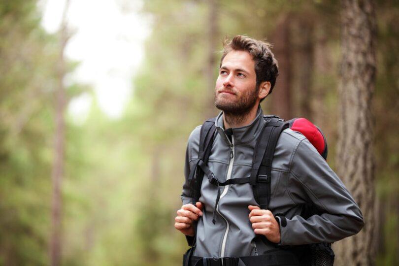 hiker wearing fleece jacket
