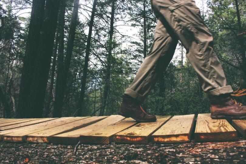 man hiking in hiking pants