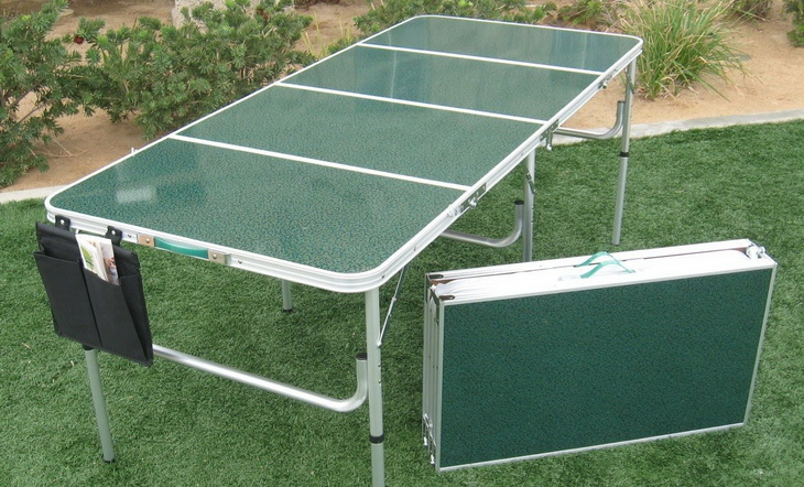 Image of green folding camp table