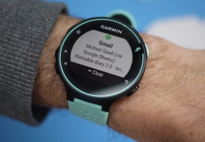 garmin watch showing notifications