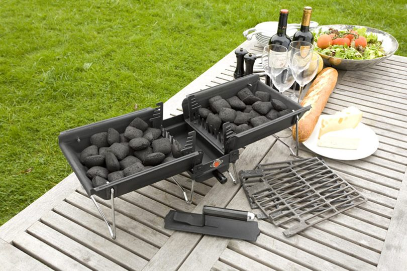 Portable Charcoal Grill On Table