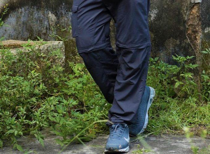 hier wearing convertible rain shell pants