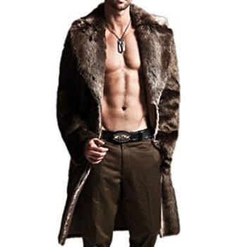 Hochock Men's Winter Lapel Faux-Fur Long Overcoat Parka Coat Outerwear
