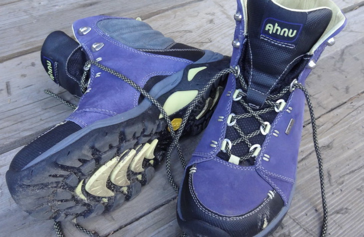 Image of Ahnu Montara hiking boots on the floor