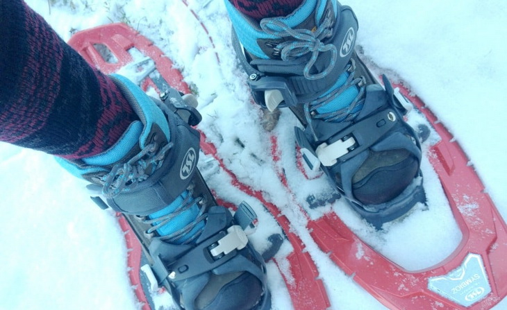 A pair of boots for snowshoering for women