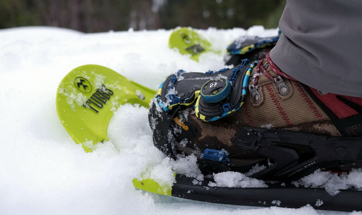 Close-up of a pair of snowshoes