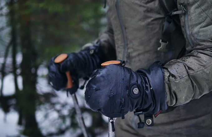 A man wearing a pair of Heat 3 FULL LEATHER Cold Weather Gloves