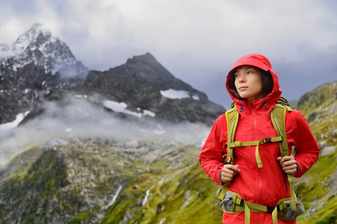 hiker woman in rain jacket