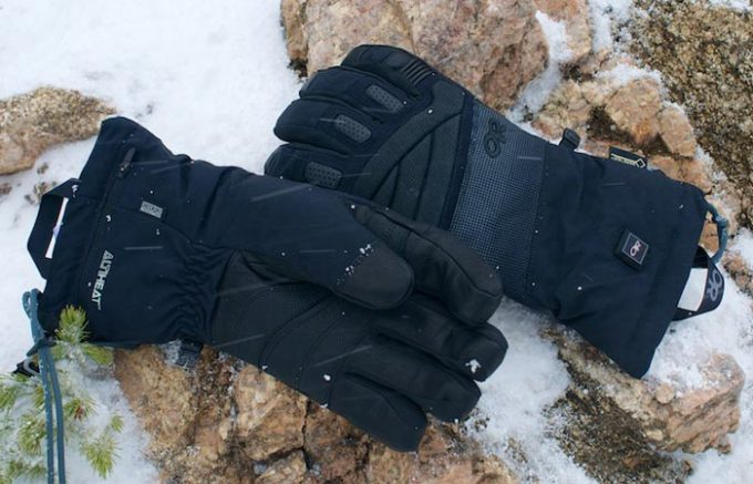 Image showing a pair of Outdoor Research Lucent heated glove on the ground
