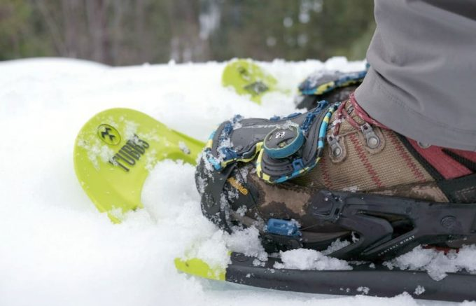 Close up image of snowshoes