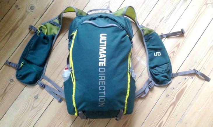 blue UL-backpack on the floor