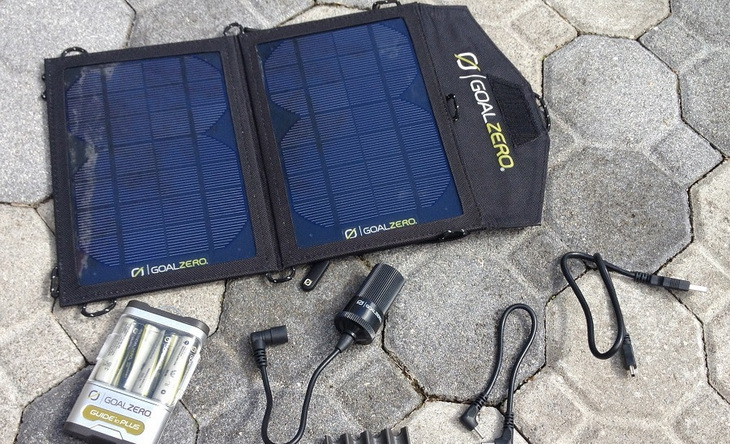 A solar charger on the ground