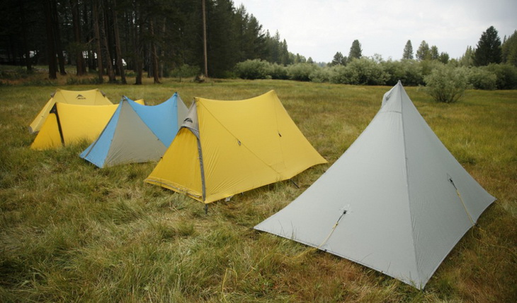 5 ultralight tents on the grass in the camp