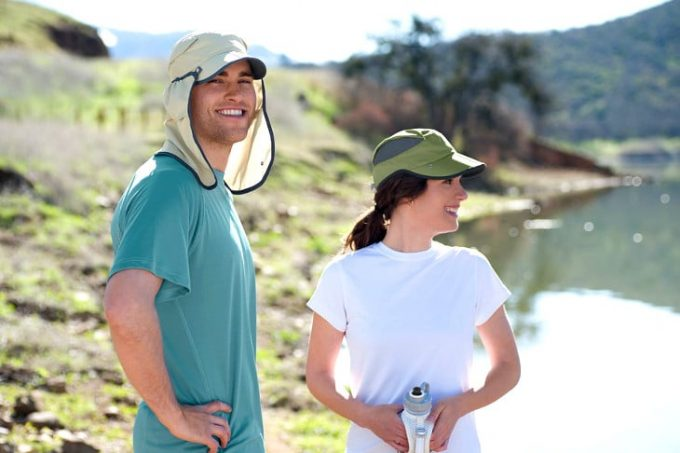 couple wearing hiking hats