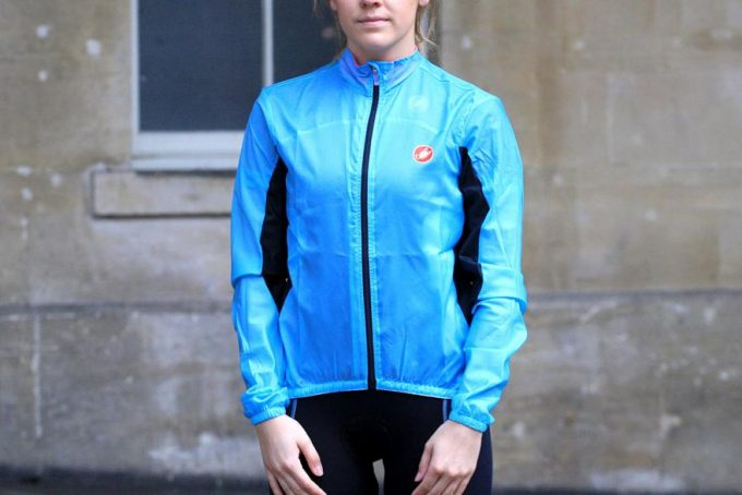 cyclist wearing a rain jacket