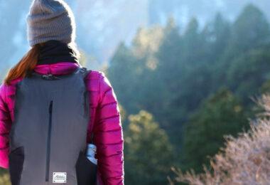 hiker wearing packable daypack