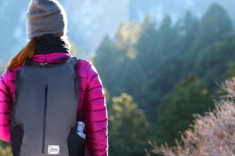 hiker wearing packable daypack