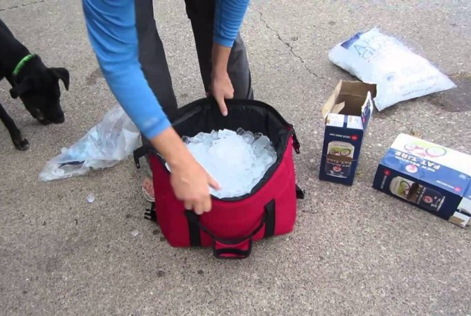 ice in cooler bag