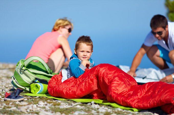 kid in a sleeping bag