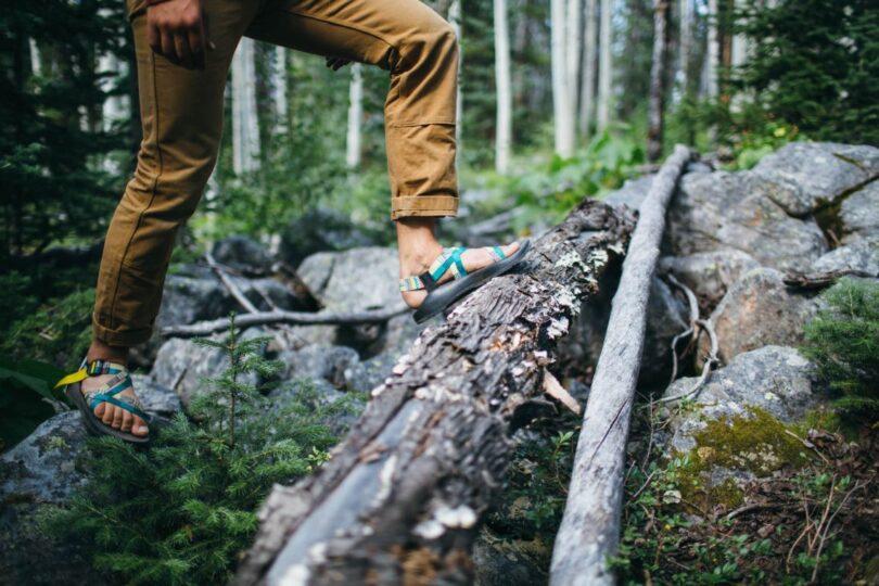 man wearing hiking sandals