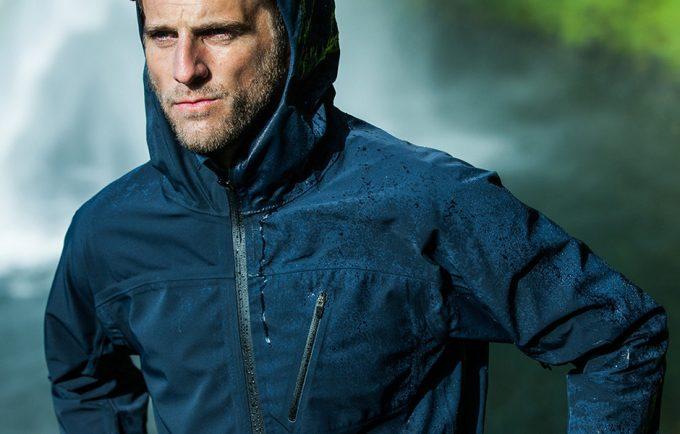 man wearing waterproof parka