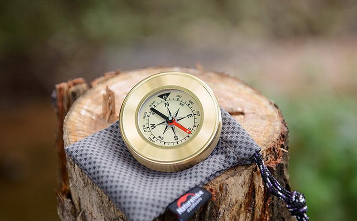 Image showing a compass on a wood