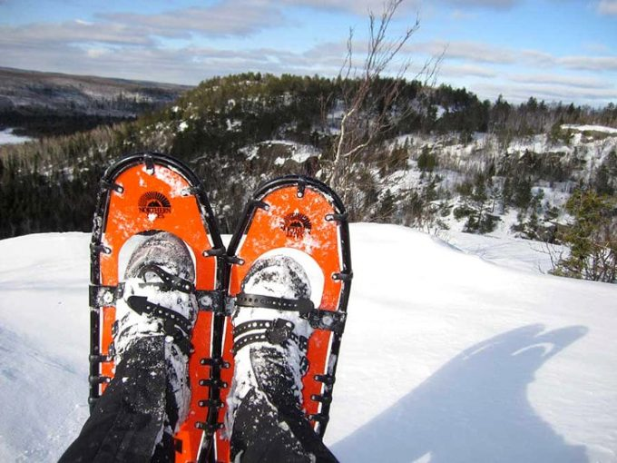 Image showing biding on snowshoes