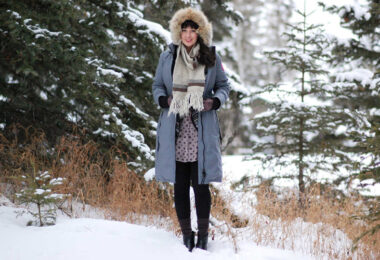 woman wearing canada goose down jacket