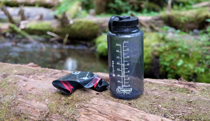 A hiking water bottle