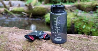 A hiking water bottle