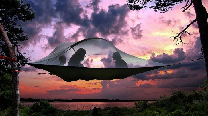 Inside a hammock