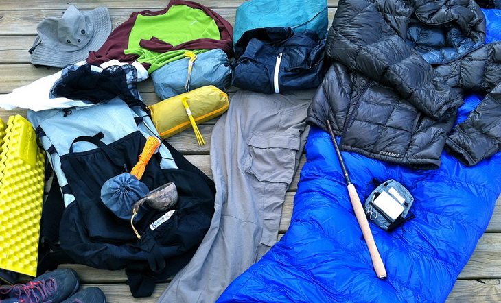 Lightweight Backpacking gear on the ground