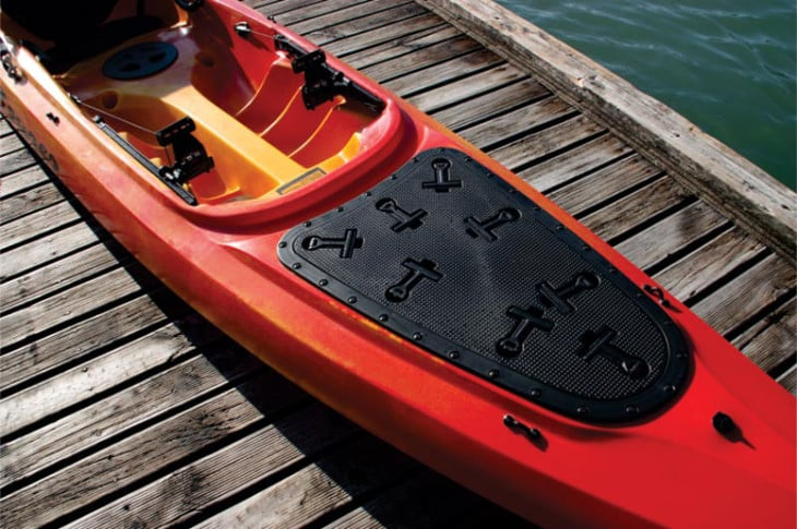 Red Touring kayak