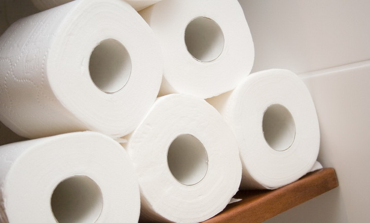 Five rolls of white toilet paper in a bath
