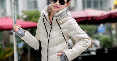 Woman wearing short parka