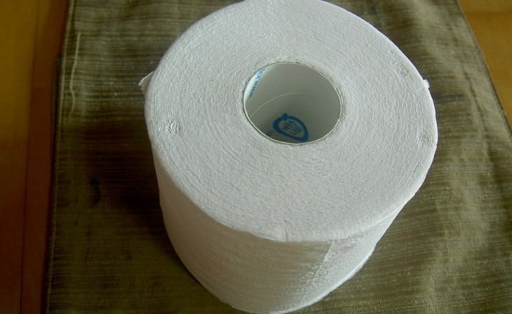 A toilet-paper ona table