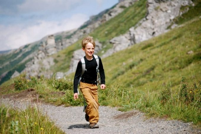 kid wearing hiking shoes
