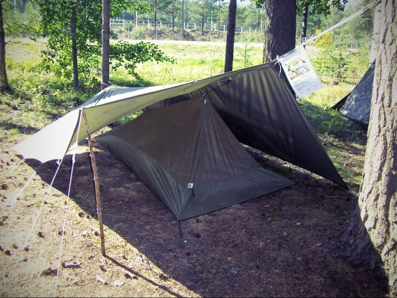 A tarp above the tent