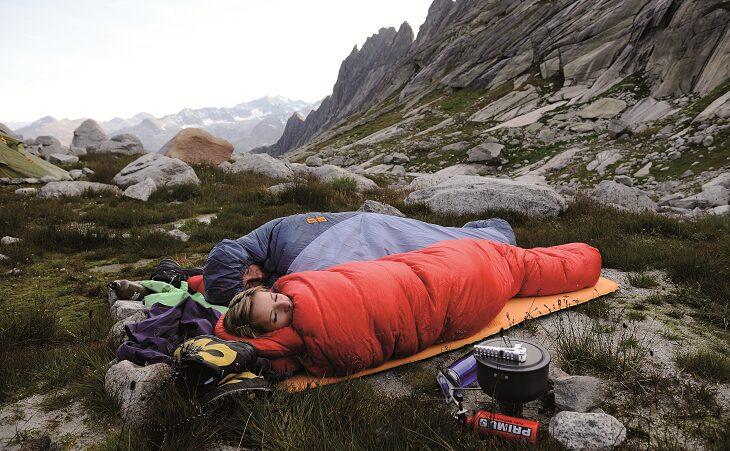 Two adults sleeping in sleeping bags