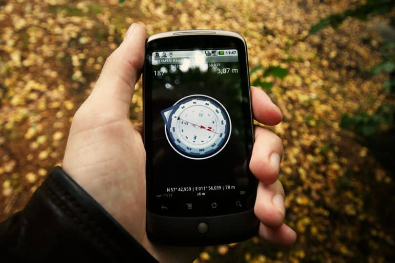 A compass app on the smartphone
